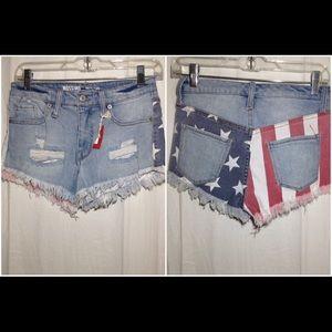 Women's Size 00 Stars & Stripes Denim Shorts